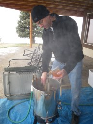 pouring the honey