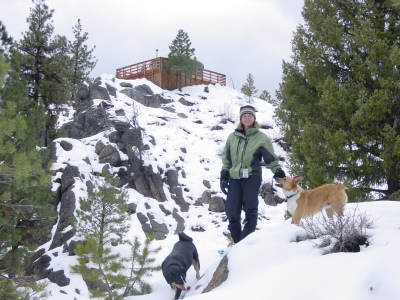 Shelley and the dogs, Rocky Ridge Yurt, 2003