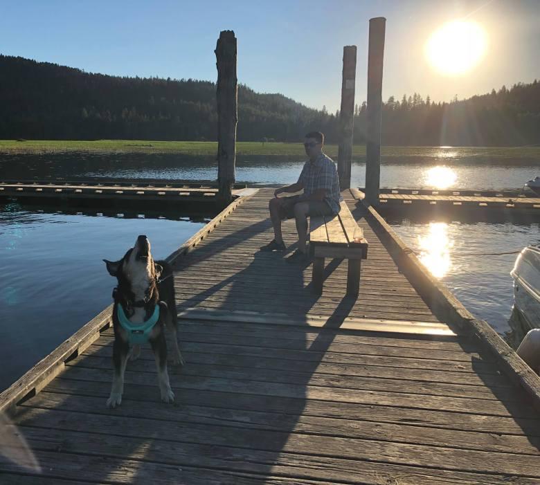 Ripley howling on a dock