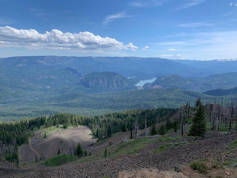 Looking down on Rim Rock Lake with Mt Adams