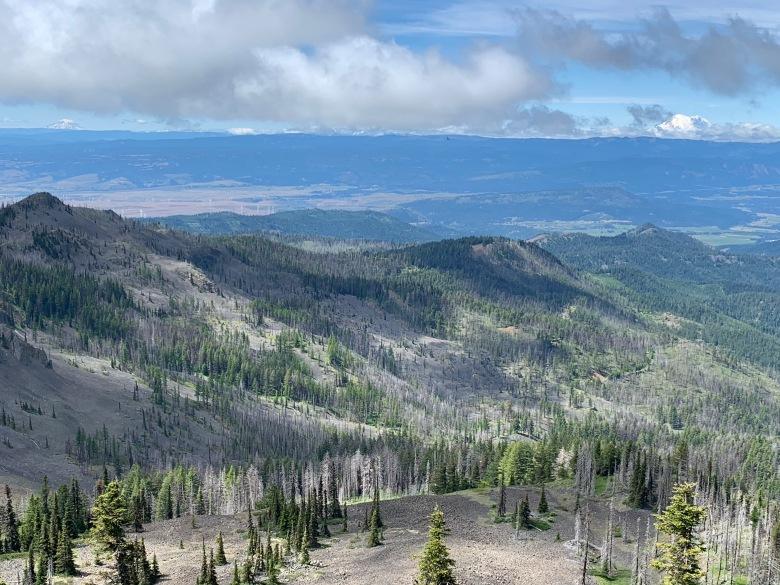Mt Adams on the left, Mt Rainier on the right